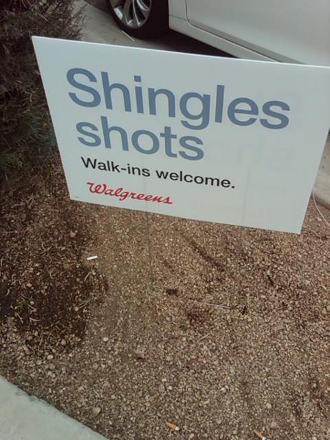 Sign advertising Shingles immunizations