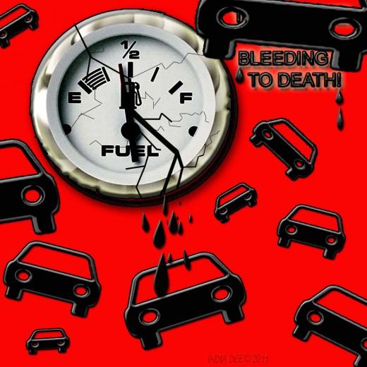 Broken and Bleeding Vehicle Fuel Gauge Graphic