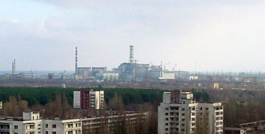 Chernobyl reactor as we can see it from Pripyat, which is now a ghost city.