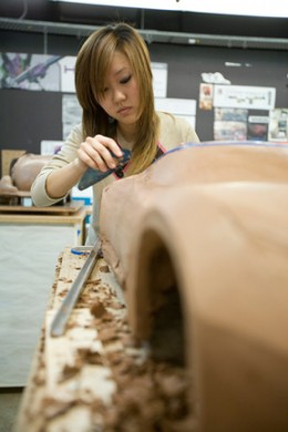 Student  at work on a clay model