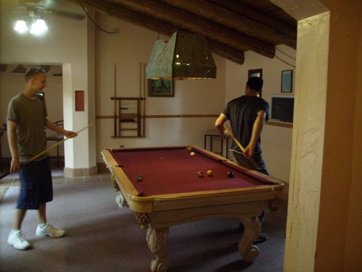 A game of pool at the Rec Center.