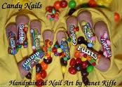 These nails feature favorite candy labels; how cute is that?