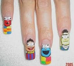 sesame street has it's way with everyone, even nail techs.