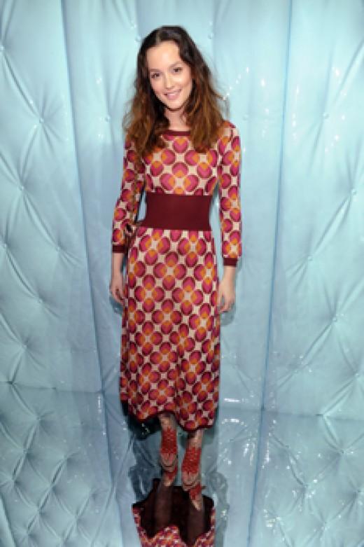 Leighton Mesteer wearing a Retro Print dress.
