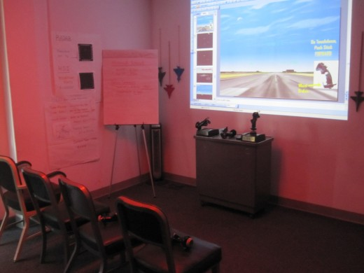 The briefing room at The Flightdeck in Anaheim, CA.
