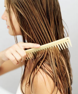 Use a wide- tooth comb on wet hair