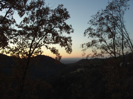 Looking down towards Hesperia at sunset.