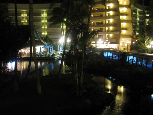 Nighttime at The Hilton Waikoloa Village.