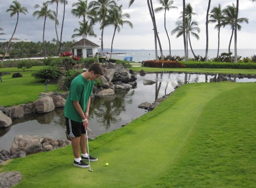 The miniature gold course at The Hilton Waikoloa Village.