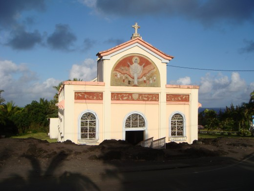 Everything in this town was destroyed except from this church as the lava flowed on both its sides and the church was intact