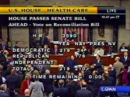 The House Of Representatives Passes The Health Care Reform Act Bill.