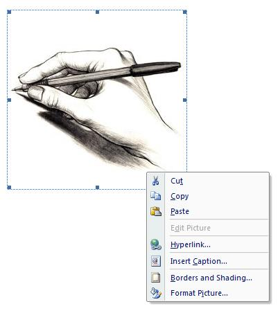 Right clicking on the picture gives you a sub-menu that can be used to format the picture in Microsoft Word.
