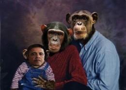 Obama family portrait, nah, no racism comparing a black man to a chimp
