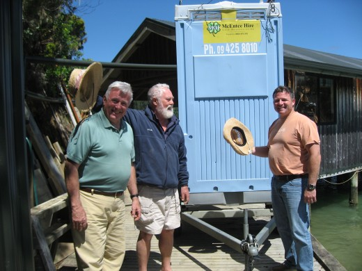 Larry and buddies outside his  boatworks 2009
