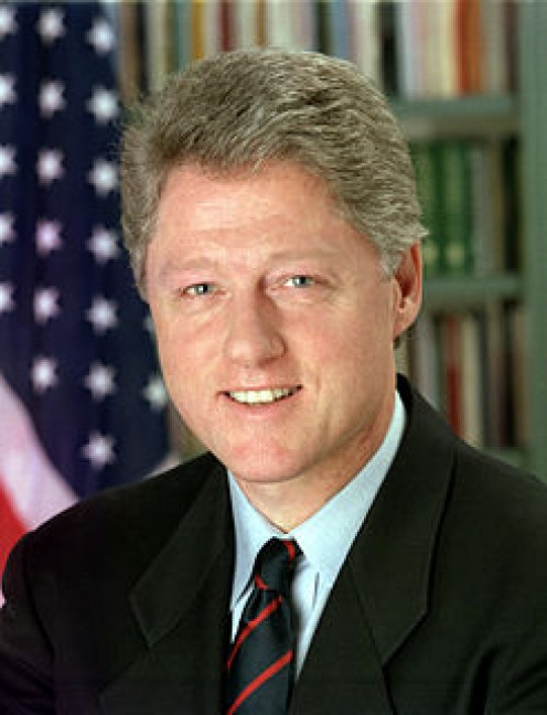 U.S. President Bill Clinton, impeached by the House of Representatives but not convicted in a trial by the U.S. Senate.