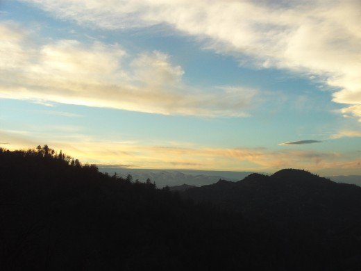 The view of Mount Baldy near sunset.
