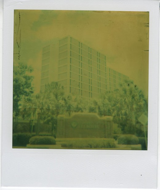 Polaroid of Beaty Towers, Enveloped by Green Fog