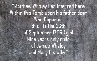 Inscription on Matthew Whaley's Tomb