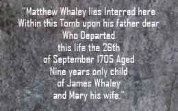 Inscription on Matthew Whaley's Tomb