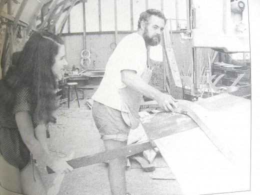 Larry and Lin working on Taleisin in Bull Canyon workshop 1980