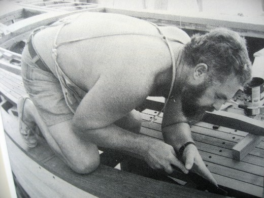 Larry working on boat building Taleisin early 1980's