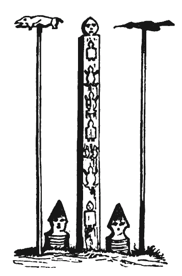 Goldi Totem Poles, Nanai people of Amur in Russia, drawn in the  middle 1800s.