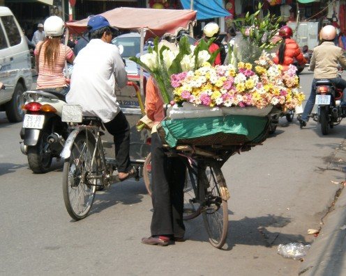 Flower Seller, Streets of Hanoi, Vietnam