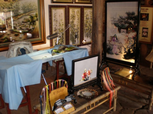 Handmade embroidery, Hanoi's Ethnology Museum, Vietnam