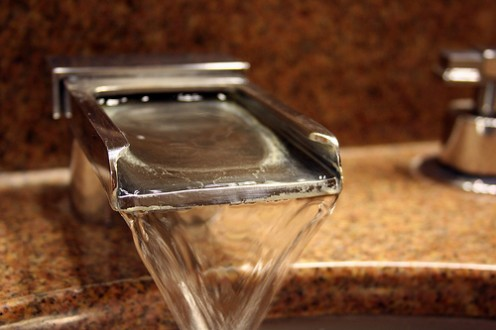 Faucet artwork with granite counter. (CCL 1)