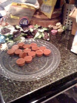 It helps to unwrap the peanut butter cups in advance.