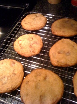 Malt Ball Cookies cool on a rack.