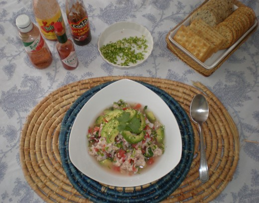Serve the Ceviche with crackers or tortilla chips and the hot sauce of your choice.