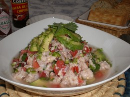 Add avocado to the Ceviche and enjoy.