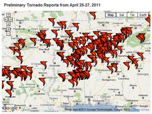 A massive, deadly, perhaps even historic tornado outbreak unfolded over the South from Monday, April 25 to Wednesday, April 27. The preliminary tornado count over the three days, as of this writing, has totaled more than 250.
