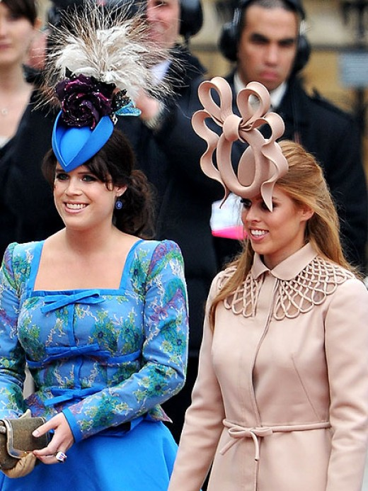 Princess Eugenia and Princess Beatrice in Phillip Treacy