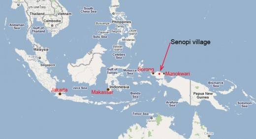 Senopi village is between the towns of Manokwari and Sorong