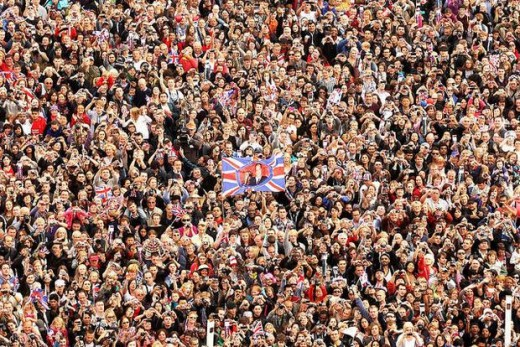 Enormous crowds gathering to celebrate and experience the Royal Wedding in London.
