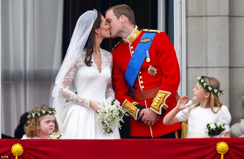 The famous Balcony Kiss - William and Kate at Buckingham Palace.