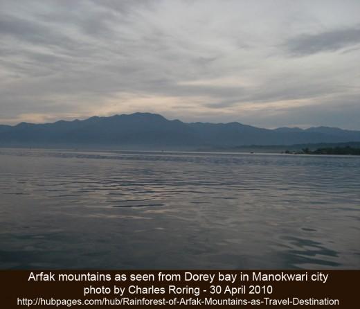 Dorey bay of Manokwari with Arfak mountains as its background - a nice tourist destination