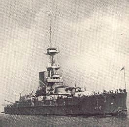 Photograph of British battleship HMS Erin (formerly the Reshadieh), photographed circa. 1912-1922