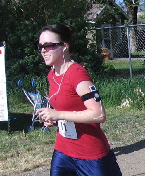 Running with some awesome music during the Fly-In Fun Run 5K in Carey, ID