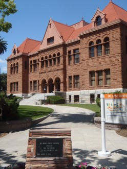 A rare example of Richardsonian Romanesque on the West Coast. Old Orange County Courthouse, Santa Ana, California, c. 1901.
