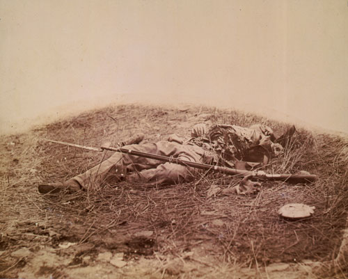 The body of a Confederate soldier, found Northwest of Devil's Den.