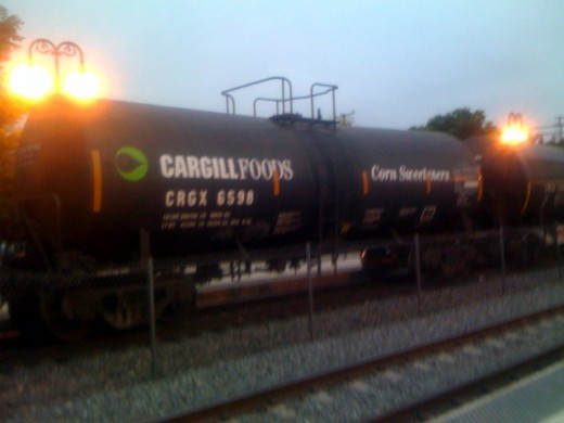 A railroad tank car transporting high fructose corn syrup.