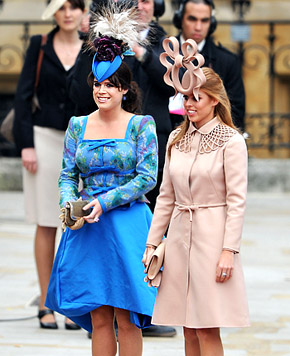 Princess Eugenie and Princess Beatrice at wedding of Prince William and Catherine Middleton, April 29, 2011