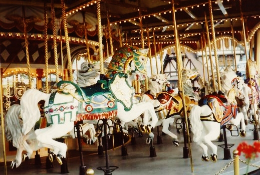 One can ride one of 90 beautifully carved horses on Cinderella's Carrousel.