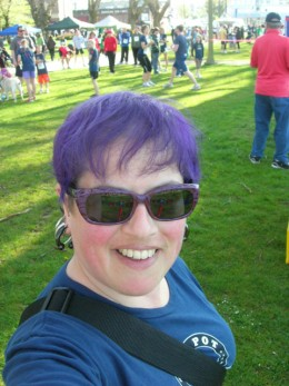 Here's my solid purple hair, which most often happens somewhere between the spring and fall equinoxes.