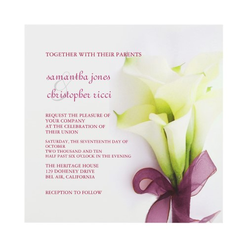 Calla Lily Wedding Invitation Card