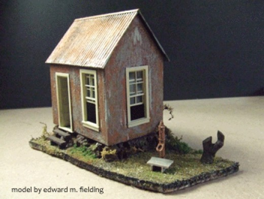 The author build this mining office model completely out of styrene sheets.