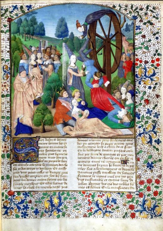 "Are we tied to Fortune's wheel? From an edition of Boccaccio's ""De Casibus Virorum Illustrium"" (Paris, 1467) MSS Hunter 371-372 (V.1.8-9). Image (vol. 1: folio 1r)"